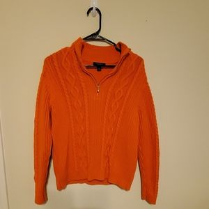 Chaps xl women's cable knit sweater. Orange .